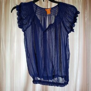 Joe Fresh Blue Semi-Sheer Size XS Top Ruffles